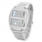 Dual Screen Men's Zinc Alloy Electronic Digital Men's Wrist Watch - Silver (1 x 2032)