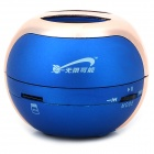 T07 3W Mini Portable Retractable Stereo Speaker w/ TF - Sapphire Blue + Golden (16G Max.)