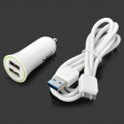 Dual USB Car Charger + Micro USB 3.0 9-Pin Cable para Samsung Galaxy Note 3 - Blanco (DC 12 ~ 24V)