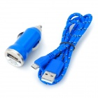 Car Charger + Weave Micro USB Cable for Samsung Galaxy S4 / Note 2 / S3 - Deep Blue (DC 12~24V)