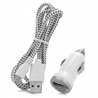 Car Charger + Weave Micro USB Cable for Samsung Galaxy S4 / Note 2 / S3 - White + Black (DC 12~24V)