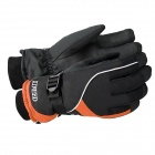 KINEED N1302 Sports Men's Warm Taslon Gloves - Black + Golden Orange (Size L / Pair)