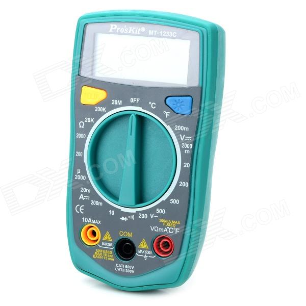 Pro'sKit MT-1233C 2.1 LCD Display 3 1/2 Digit Multimeter - Green + Grey (2 x AAA) 100 pcs ld 3361ag 3 digit 0 36 green 7 segment led display common cathode