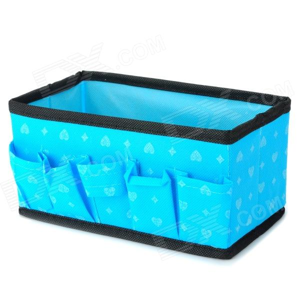 Convenient Non-woven Fabric Cosmetics / Makeup Organizer Storage Case Box - Blue + Black