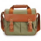 909 Universal Multi-Pocket Canvas DSLR Camera Shoulder Bag - Army Green