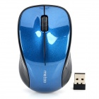 METOO E9 1600dpi LED Optical Wireless Mouse - Black + Blue (1 x AA)