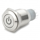 16mm Stainless Steel Green Light Push Button Reset Switch - Silver