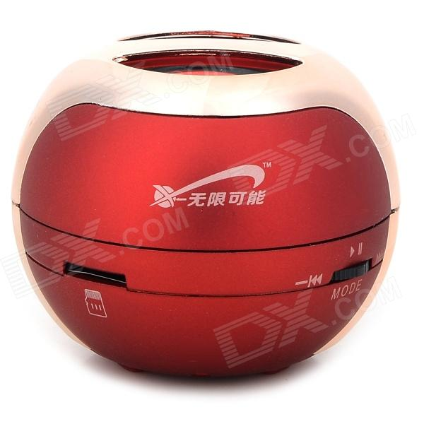 T07 3W Mini Portable Retractable Stereo Speaker w/ TF - Red + Golden (16G Max.)