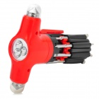 Multifunctional Life-Saving Emergency Hammer + 7-in-1 Screwdriver + 4-LED Flashlight - Red + Black