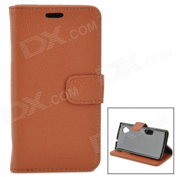 BP-1 Lychee Grain Style Protective PU Leather + Plastic Case for Google Nexus 5 LG E980 - Brown bp a lychee grain style protective pu leather plastic case for google nexus 5 lg e980 black