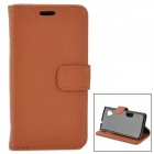 Lychee Grain Style Protective PU Leather + Plastic Case for Google Nexus 5 LG E980 - Brown