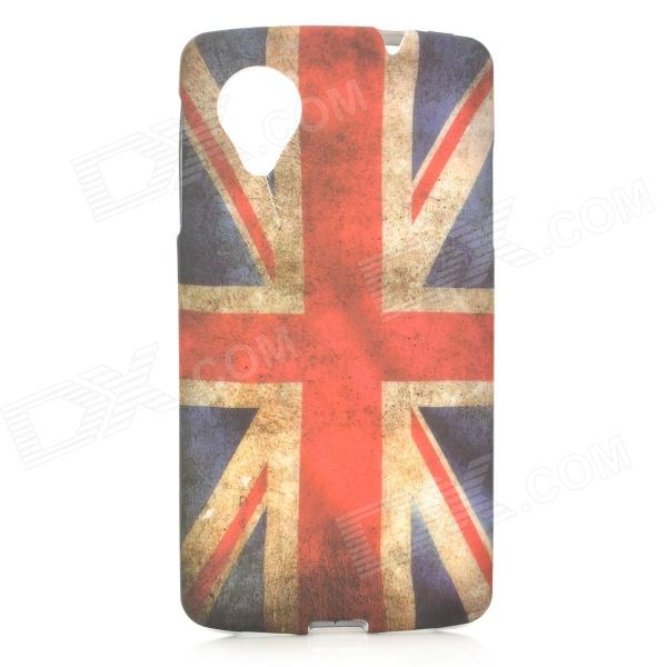 Retro UK National Flag Style Protective TPU Back Case for LG Nexus 5 - Blue + Red + White retro the uk national flag pattern protective plastic back case for iphone 4 4s red white