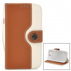 Protective Flip Open PU + ABS Case w/ Card Slots / Strap / Stand for Samsung i9300 - Brown + White