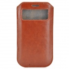 Protective Cord Pull PU Leather Case Pouch Bag for Samsung Galaxy S4 i9500 - Brown