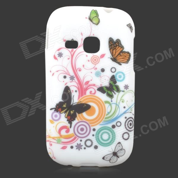 Butterfly Style Protective TPU Back Case for Samsung Galaxy Young S6310 / S6312 / S6313 - White glitter powder imd tpu back case for iphone 7 black butterfly