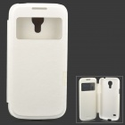Protective PU Leather + Plastic Case w/ Display Window for Samsung Galaxy S4 Mini - White