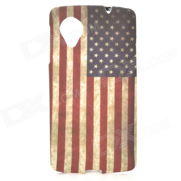 Retro US National Flag Style Protective TPU Back Case for LG Nexus 5 - White + Red + Blue protective silicone back case for lg nexus 5 translucent white