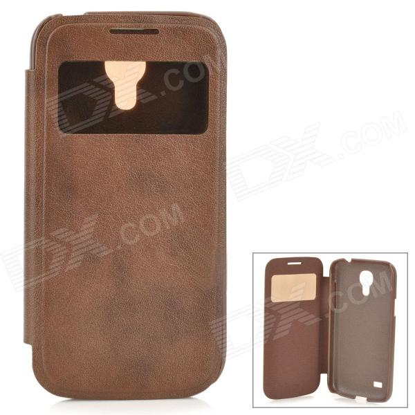 Protective PU Leather + Plastic Case w/ Display Window for Samsung Galaxy S4 Mini - Brown highscreen аккумулятор для easy s easy s pro 2200 mah