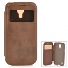 Protective PU Leather + Plastic Case w/ Display Window for Samsung Galaxy S4 Mini - Brown