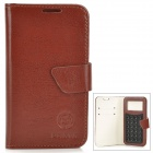 "Universal Protective PU Leather Case w/ Suction Cup for 4.0~4.5"" Cell Phones - Brown"