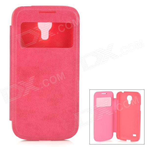 все цены на Protective PU Leather + Plastic Case w/ Display Window for Samsung Galaxy S4 Mini - Deep Pink