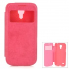 Protective PU Leather + Plastic Case w/ Display Window for Samsung Galaxy S4 Mini - Deep Pink