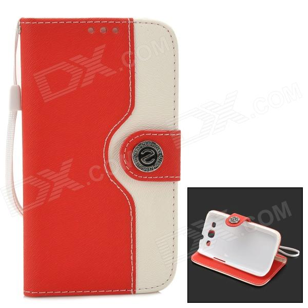 Protective Flip Open PU + ABS Case w/ Card Slots / Strap / Stand for Samsung i9300 - Red + White protective flip open pu case w stand card slots strap for samsung galaxy note 3 n9000 white
