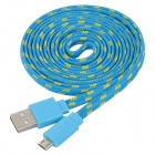 Woven Micro USB Male to USB Male Data Cable for Note 10.1 P600 - Blue