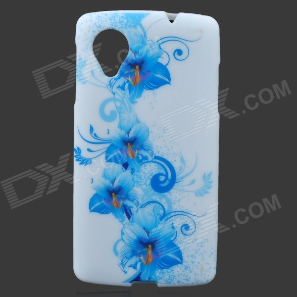 Flowers Style Protective TPU Back Case for LG Nexus 5 - Blue + White protective silicone back case for lg nexus 5 translucent white