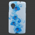 Flowers Style Protective TPU Back Case for LG Nexus 5 - Blue + White