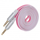 Flat 3.5mm Male to Male Audio Cable - Deep Pink + White (115cm)
