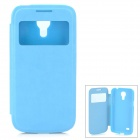 Protective PU Leather + Plastic Case w/ Display Window for Samsung Galaxy S4 Mini - Sky Blue