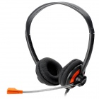 Konlycol KT-I300MV 3.5mm Jack Wired Stereo Headset w/ Microphone - Black + Orange (210cm)