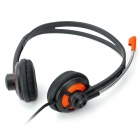 Konlycol KT-I300MV 3.5mm Jack Wired Stereo Headset m / mikrofon-svart + Orange (210cm)