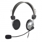 SHIKE EHS-913 3.5mm Jack Wired Stereo Headset w/ Microphone - Black + Silver (200cm)