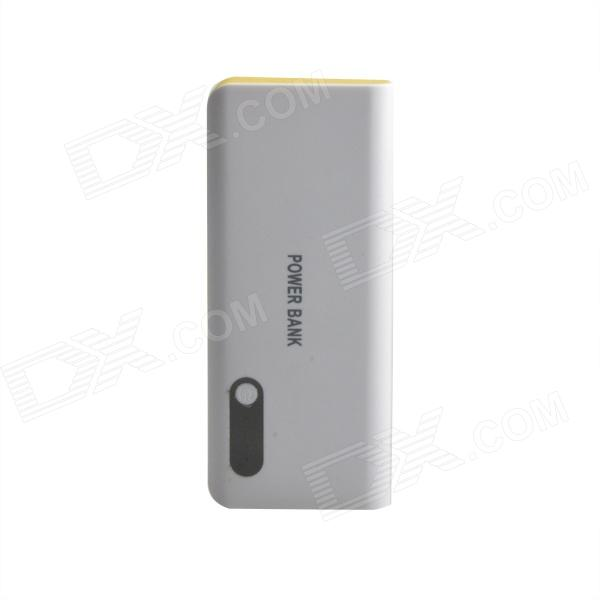 16800mAh Dual-USB Portable Mobile Power Source Bank for IPHONE / Samsung / HTC - White + Yellow bp 15000mah dual usb mobile power source bank for iphone 5s samsung htc white green