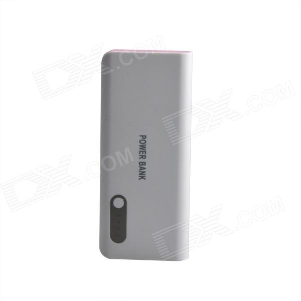 AYA-213 16800mAh Portable Mobile Power Source Bank for IPHONE / Samsung / HTC - White + Pink bp 15000mah dual usb mobile power source bank for iphone 5s samsung htc white green