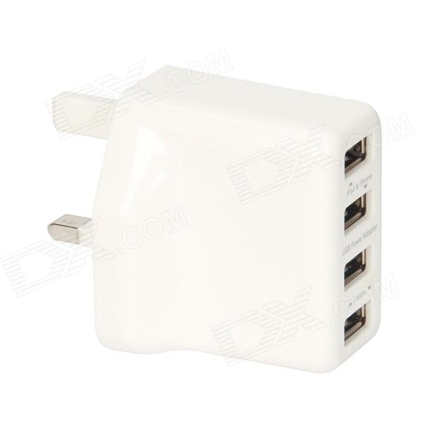18W 4-Port USB AC Power Adapter for IPAD / IPHONE / Samsung / Cell Phone -White (UK Plug / 110~240V) 3 port usb ac uk plug power adapter for mobile phone tablet pc white 100 240v