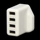 18W 4-port USB strømadapter for IPAD / IPHONE / Samsung / Cell Phone-White (UK Plug / 110 ~ 240V)
