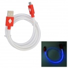 Red Light Visible Micro USB Male to USB 2.0 Male Data Sync / Charging Cable - Red (100cm)