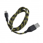 Nylon USB 2.0 Male to Micro USB Male Data Sync / Charging Cable for Samsung + More - Black (100cm)