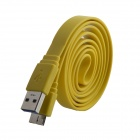 USB 2.0 Male to Micro USB 3.0 Data / Charging Flat Cable for Samsung Galaxy Note 3 N9000 - Yellow