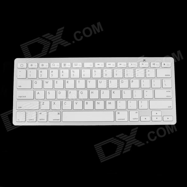 e-J CL-613 Bluetooth V3.0 78-tast tastatur for IPAD 3 / 4 / tavle-PC - hvit sølv (2 x AAA)