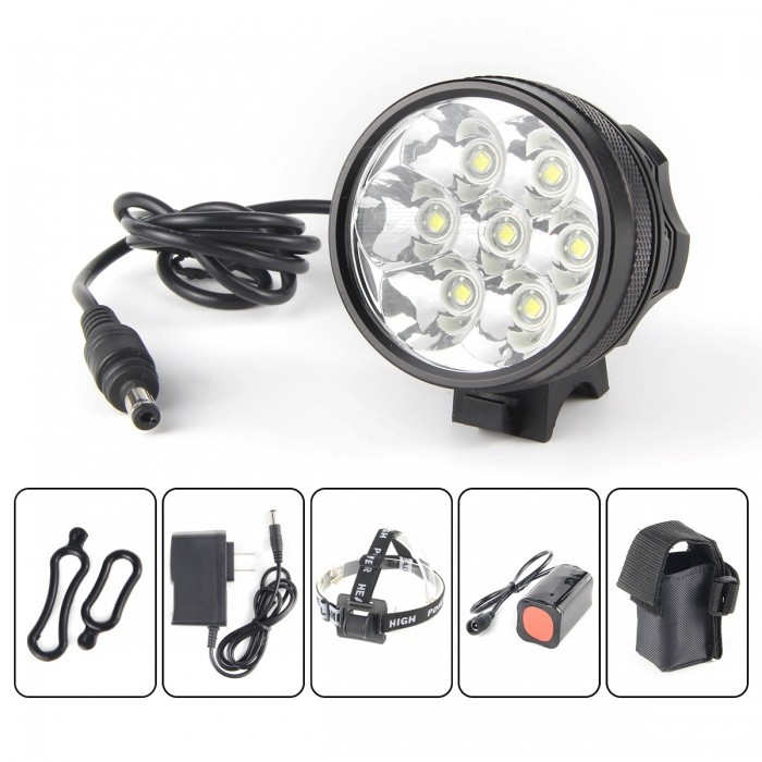 UltraFire U-33 7-LED 3-Mode 3500LM Cool White Bike Light / Headlamp - Black (4 x 18650) marsing 3 led 3000lm 4 mode cool white bike light headlamp black 4 x 18650