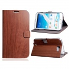 Wood Pattern Protective PU Leather Case Cover Stand for Samsung Galaxy Note 2 N7100 - Coffee