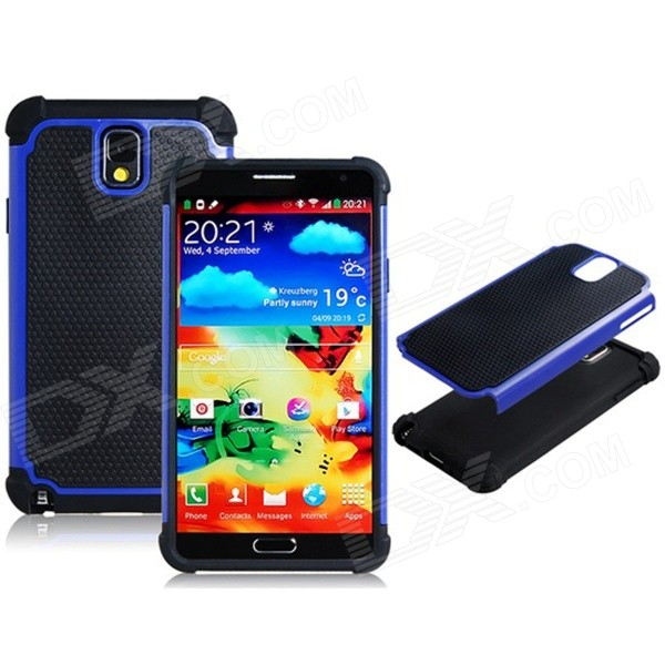 2-in-1 Sports Ball Skin Protective Plastic + Silicone Case for Samsung Galaxy Note 3 - Black + Blue туфли samsung wins the ball 86a8032 2015 ol