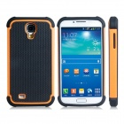 2-in-1 Ball Feel Protective Plastic + TPU Back Case for Samsung Galaxy S4 i9500 - Black + Orange