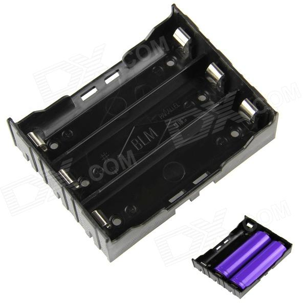 DIY 3-Slot 18650 Battery Holder with Pins - Black