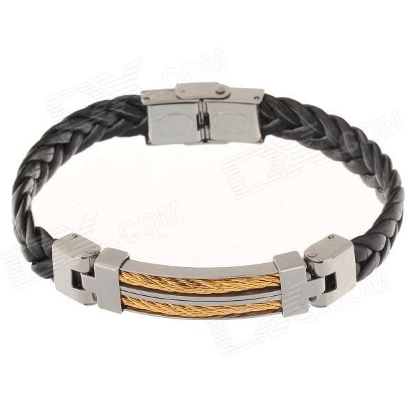 Decompression Anion PU Leather Non-Allergy Bracelet - Silver + Black + Golden decompression anion pu leather non allergy bracelet silver black coppery