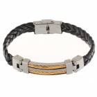 Decompression Anion PU Leather Non-Allergy Bracelet - Silver + Black + Golden